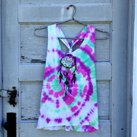 TieDye open back dream catcher tank top