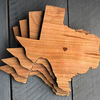 City & State or Country Silhouette Coasters, Set of 4 - Laser Cut Out Design with Heart Location, Name or Date
