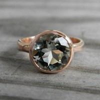 14k Rose Gold Prasiolite Ring