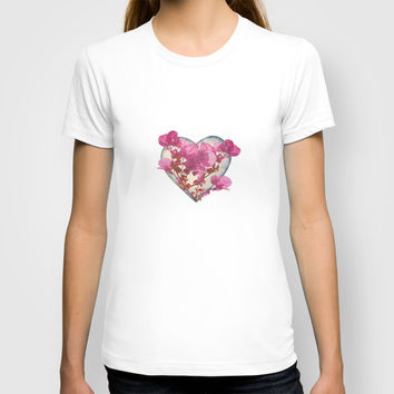 Heart Shaped with Flowers Digital Collage T-shirt by DFLC Prints