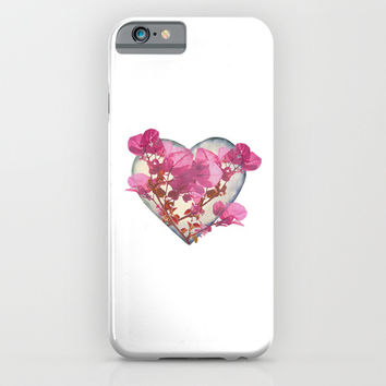 Heart Shaped with Flowers Digital Collage iPhone & iPod Case by DFLC Prints