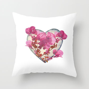 Heart Shaped with Flowers Digital Collage Throw Pillow by DFLC Prints