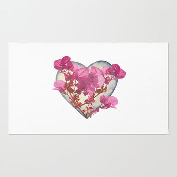 Heart Shaped with Flowers Digital Collage Rug by DFLC Prints
