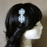 Mildred Headband -Detailed Ornate Filigree Silver Leaf Brass Stamping On Black Metal Band - Vintage Art Deco Bridal Flapper Modern Gift