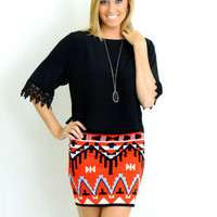 Wild West Aztec Print Skirt in Red -  $38.00 | Daily Chic Bottoms | International Shipping