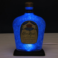 "Crown Royal Canadian Whiskey Lamp-Brilliant Blue LED / ""Diamond Like"" Glass Coating Inside / Crystal Glow"