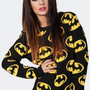 Black Long Sleeve Sweater with Retro Batman Print