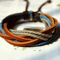 Fall Friendship Fashion Multicolor real Leather and Adjustable Cotton rope Bracelet cuff  M-05
