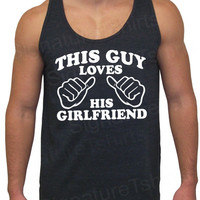 This Guy Loves His Girlfriend Tri-Blend Tank American Apparel UNISEX S, M, L, XL Valentine&#x27;s Gift