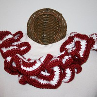 Ruffled Scarf Maroon White Team Spirit
