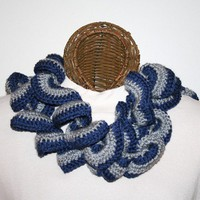 Ruffled Scarf Navy Blue Gray Spirit