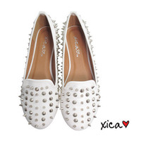 Spiked Round Toe Flat WHITE from CherryKreations21
