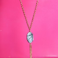 A Little Too Late Necklace-Ivory/Black