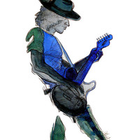 Feeling the Blues 9x12 Archival Print from Original Watercolor & Ink Illustration by Michelle Walker