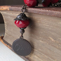 Say Oui - Garnet Crystal and Black Antiqued Brass Necklace - Valentine - Anniversary Gift - Proposal