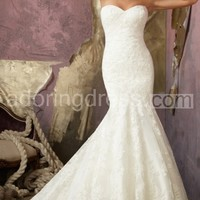 Elegant Alencon Lace Gown With Strapless Bodice Has Fit and Flare Design