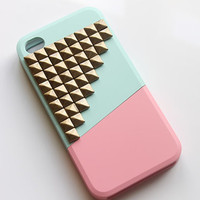 Bronze Studded iPhone 4 Case - Color Block Slide iPhone 4 Case - Mint / Pink