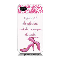 Marilyn Monroe Quote, Give A Girl The Right Shoes..  Iphone 4 cell phone accessory case, Iphone case, Iphone 4s case,