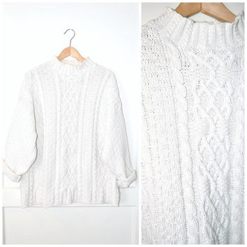 white TURTLE neck cable knit sweater cotton FISHERMAN vintage 80s OVERSIZED long slouchy cowl neck jumper os