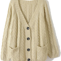 ROMWE | Chunky Cable Knit Cream Cardigan, The Latest Street Fashion