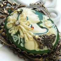 Lily Aged Brass Cameo Necklace by HarlequinRomantic on Etsy