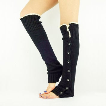Lace Boot Socks BLACK Leg Warmers black boot socks knit legwarmers Boot toppers Women's leg warmers sexy slouchy socks black lace trim socks