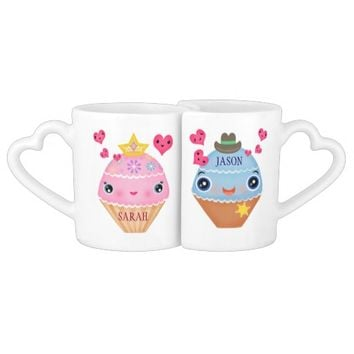 Valentine's Day Cupcake Couple Mug Set