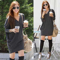 Women Solids Batty Sleeve V-neck Loose Top T-shirt 1797