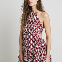 Intimately Womens Printed Open Side Romper - Burgundy