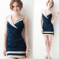 New Korea Womens Lapel V neck Sleeveless Double-breasted Mini Dress Stylish 4488
