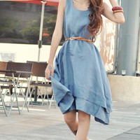 Knee Length Sundress Two Layers Vest Dress in Grey-blue Summer Dress Custom Made - NC056