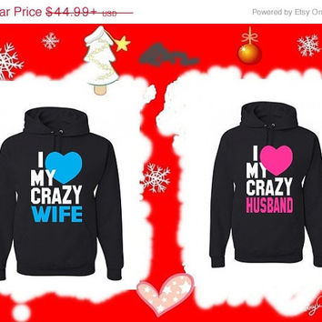 Valentine Sale I Love My Crazy Husband I Love My Crazy Wife Disney Matching Couples Hoodies Sweatshirts in Black. Personalize by adding name