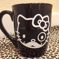 Black  White Hello Kitty Hipster mustache Bow coffee mug cup Home decor storage vinyl decal sticker