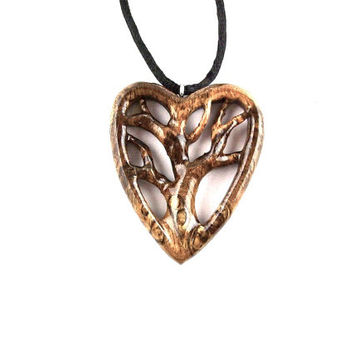 Wooden Heart Necklace Pendant, Tree of Life Heart Necklace, Tree of Life Pendant, Wood 5th Anniversary Gift, Wood Jewelry, Valentine's Day