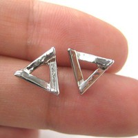 Simple Small Geometric Triangular Stud Earrings in Silver