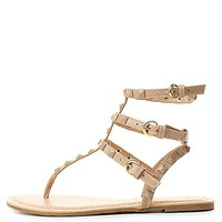 Studded T-Strap Thong Sandals by Charlotte Russe - Nude