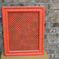 vintage ornate orange frame upcycled square earring holder home decor wall hanging fall decor