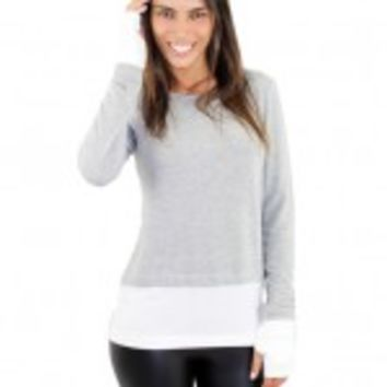 Gray And White Top With Thumb Holes