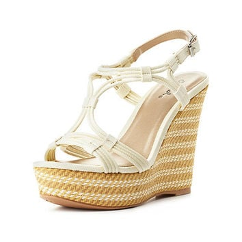 Qupid Strappy Platform Wedge Sandals by Charlotte Russe - White