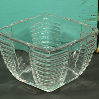 Art Deco Square Clear Glass Bowl Circa 1930s Vintage Horizontal Ribs