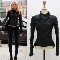Runway Lace Up Sleeve Biker Jacket Synthetic Leather Co | eBay