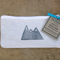 Mountain Pencil Case Back to School Zippered Canvas Pouch Block Print in Black ink