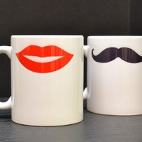 HIS AND HERS Coffee Mugs - Mustache and Hot Lips