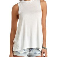 Tunic-Length Swing Muscle Tee by Charlotte Russe - Ivory