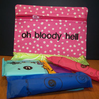 Oh Bloody Hell Tampon & Maxi Pad Holder Pink Dots Zippered Fabric Purse Pouch / Tampon Keeper