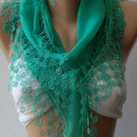 Nile Green - Scarf  -Super Soft - Elegant Scarf  Cotton Scarf... It made with good quality  COTTON  fabric..
