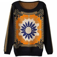 MapleClan National Style With Sunflower Print Loose Mercerizing Wool Sweater
