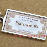 Harry Potter, Hogwarts Express Train Ticket necklace, antique silver