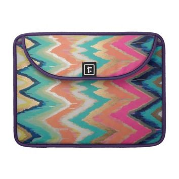 Watercolor Bright Chevron Zig Zag Stripe Pattern MacBook Pro Sleeves