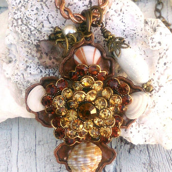 Cross Shell Necklace Assemblage necklace Religious Jewelry Ocean Theme